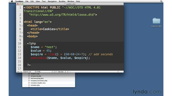 Setting cookie values: PHP with MySQL Essential Training