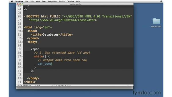 Retrieving data from MySQL: PHP with MySQL Essential Training