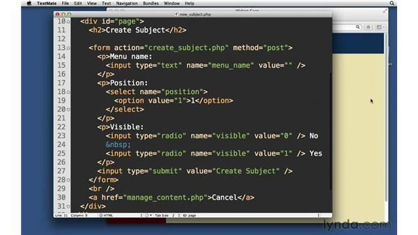 Creating a new subject form: PHP with MySQL Essential Training