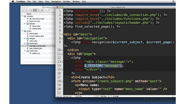 Passing data in the session: PHP with MySQL Essential Training