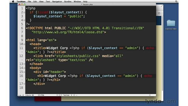 Using a context for conditional code: PHP with MySQL Essential Training