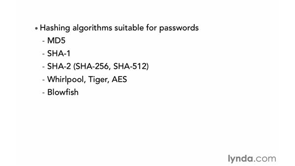 Encrypting passwords: PHP with MySQL Essential Training