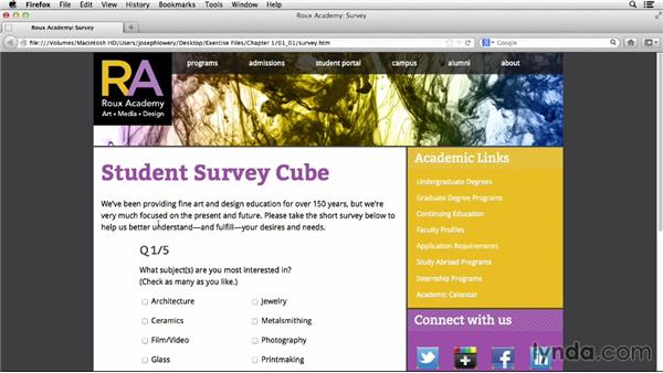 Course and browser requirements: HTML5 Projects: Creating Surveys