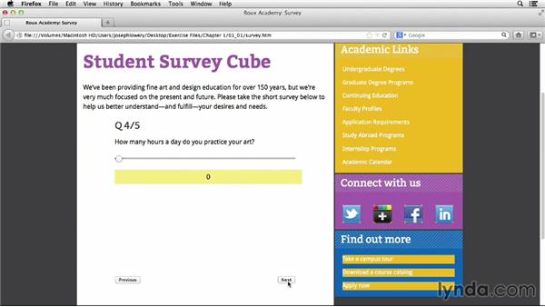 What we're going to build: HTML5 Projects: Creating Surveys