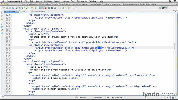 Adding navigation: HTML5 Projects: Creating Surveys