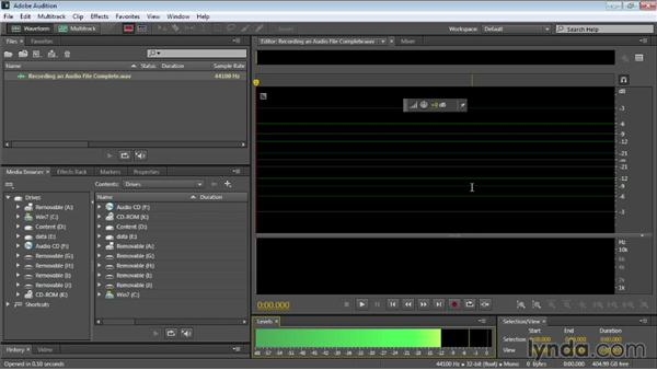 Recording an audio file: Audition CC Essential Training