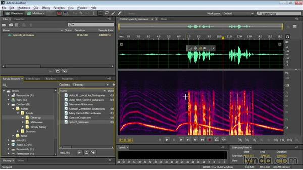Comparing waveforms and the Spectral Frequency Display: Audition CC Essential Training