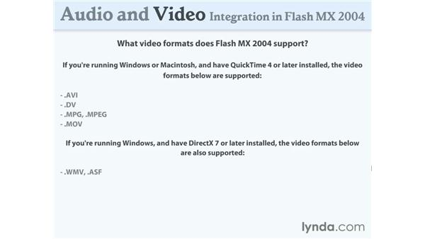 supported video formats: Flash MX 2004 Audio & Video Integration
