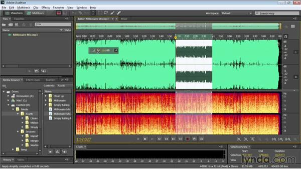Manually adjusting audio level: Audition CC Essential Training