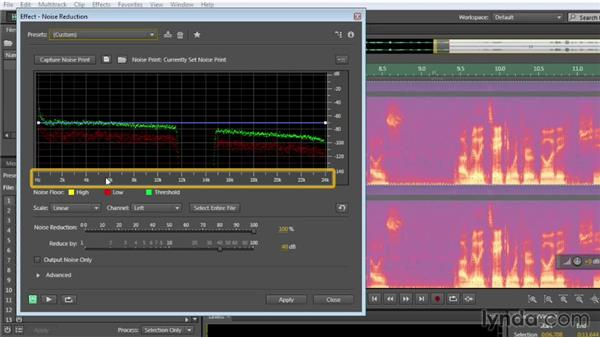 Simple settings for noise reduction: Audition CC Essential Training