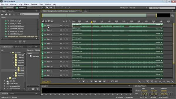 Navigating the multitrack view: Audition CC Essential Training