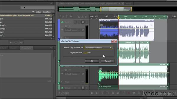 Matching audio level between multiple clips: Audition CC Essential Training