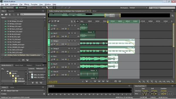 Adding fades to multiple clips: Audition CC Essential Training