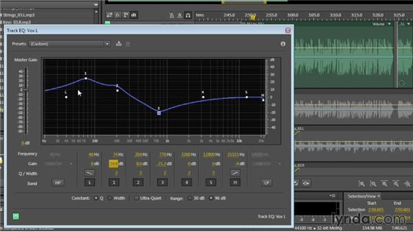 Applying track-based equalization: Audition CC Essential Training