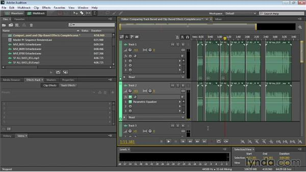 Comparing track-based and clip-based effects: Audition CC Essential Training