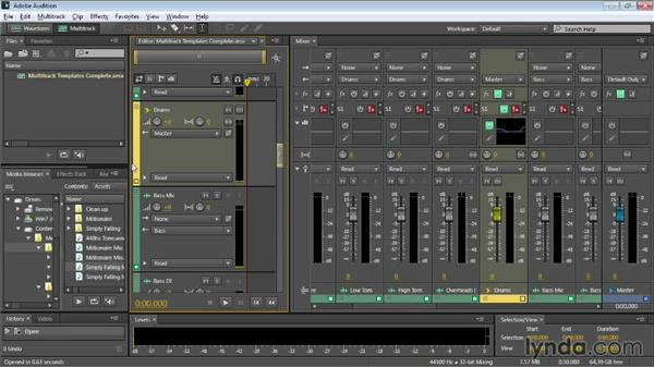 Saving time with multitrack templates: Audition CC Essential Training