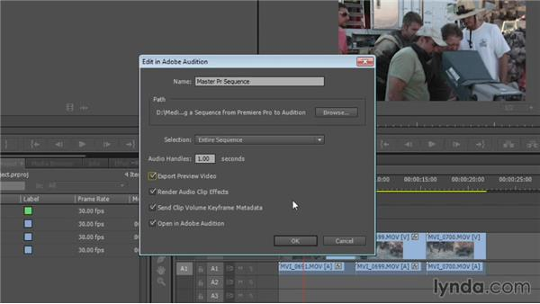 Sending a sequence from Premiere Pro to Audition