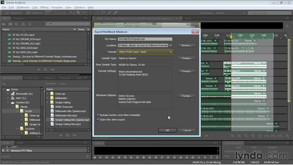 Saving your multitrack session to different formats: Audition CC Essential Training