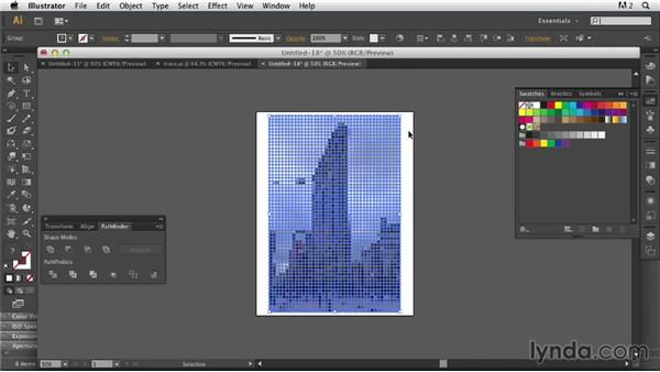 Creating an abstract background with Create Object Mosaic and the Simplify command: Photoshop for Designers: Working with Illustrator