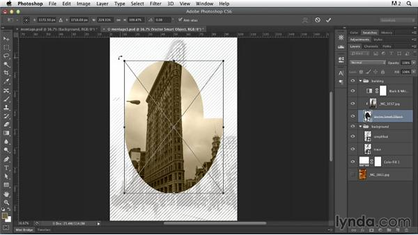 Repositioning the elements on the canvas: Photoshop for Designers: Working with Illustrator