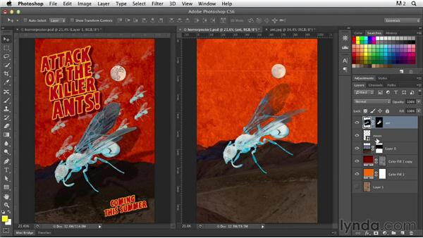 Creating a channel mask and independent shadow for the giant ant: Photoshop for Designers: Working with Illustrator