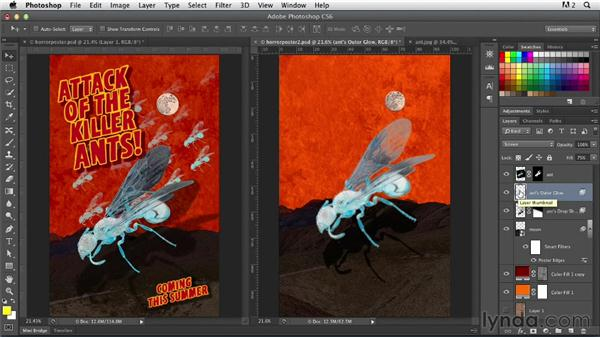 Adding a layer effect to the ant: Photoshop for Designers: Working with Illustrator