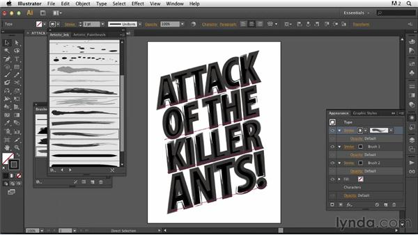 Creating painted type with Illustrator brushstrokes: Photoshop for Designers: Working with Illustrator