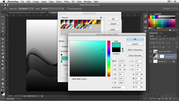 Creating an abstract desktop background: Photoshop for Designers: Working with Illustrator