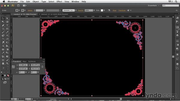 Duplicating, scaling, and arranging the traced result: Photoshop for Designers: Working with Illustrator