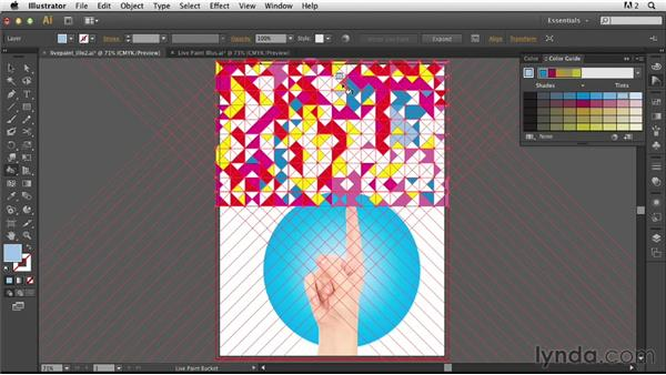 Painting the Live Paint group and applying a clipping mask: Photoshop for Designers: Working with Illustrator