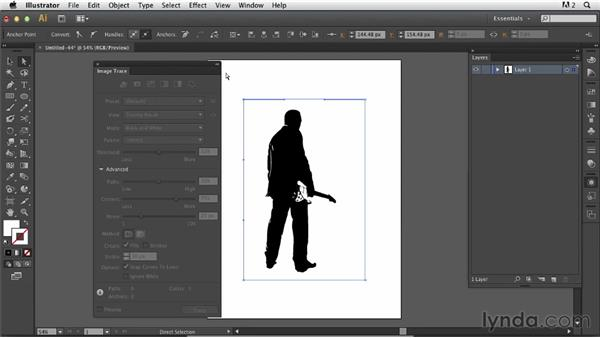 Creating and using a silhouette shape as a clipping mask: Photoshop for Designers: Working with Illustrator
