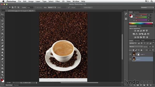 Preparing the image in Photoshop and placing it in Illustrator as layers: Photoshop for Designers: Working with Illustrator