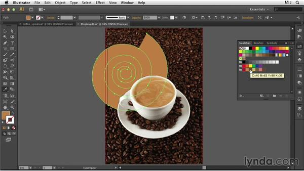 Adding the spirals: Photoshop for Designers: Working with Illustrator
