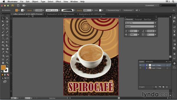 Adding and styling the type with Offset Path: Photoshop for Designers: Working with Illustrator