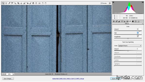 Adding a film grain effect: Photoshop CC Raw Workshop