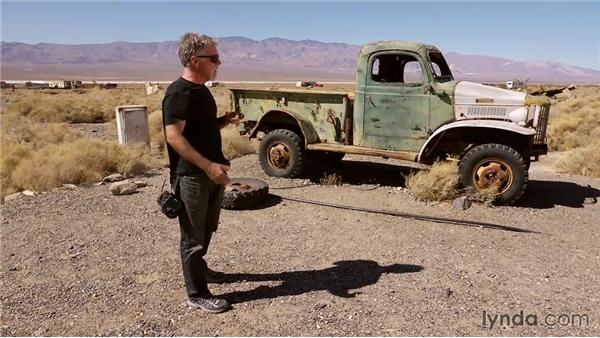 Working a shot with an old truck as a subject: Travel Photography: Desert Road Trip