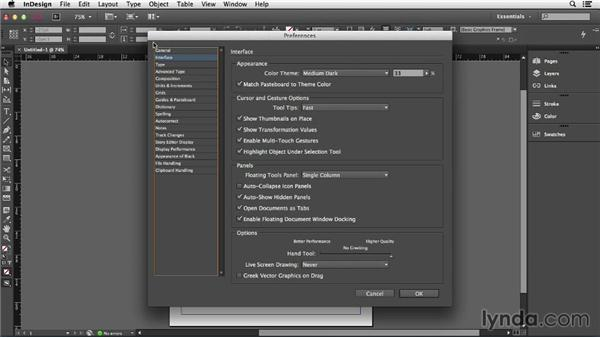 Adjusting the interface: Dark and light: InDesign CC Essential Training (2013)