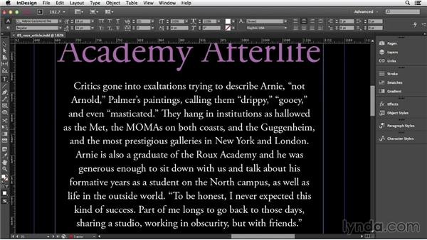 Selecting and editing text: InDesign CC Essential Training (2013)