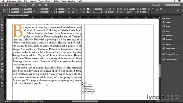 Threading text frames: InDesign CC Essential Training (2013)