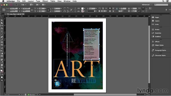 Allowing text frames to grow and shrink: InDesign CC Essential Training (2013)