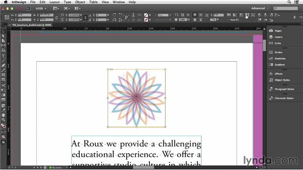 Fitting graphics to the frame: InDesign CC Essential Training (2013)