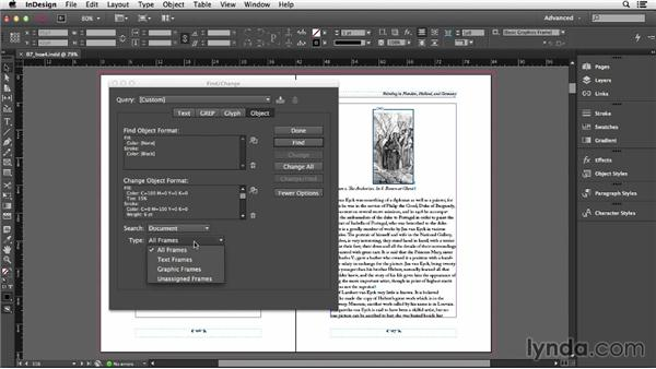 Finding and changing object formatting: InDesign CC Essential Training (2013)