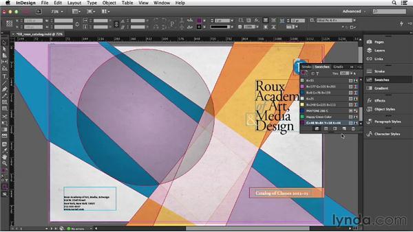 Creating color swatches: InDesign CC Essential Training (2013)