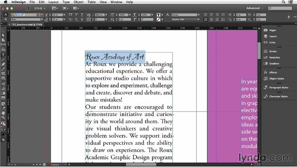 Applying basic character styling: InDesign CC Essential Training (2013)