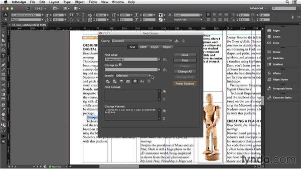 Using Find/Change for text formatting: InDesign CC Essential Training (2013)
