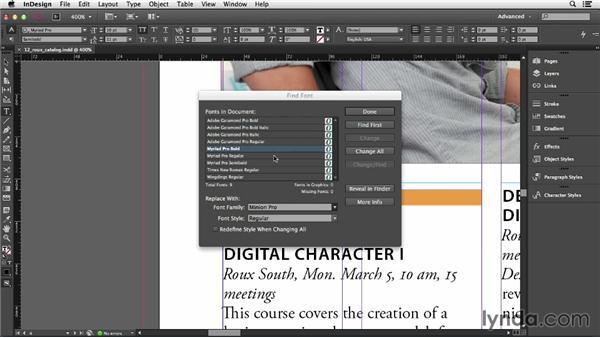 Using Find Font: InDesign CC Essential Training (2013)