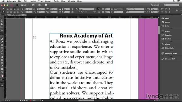 Applying formatting to a paragraph: InDesign CC Essential Training (2013)