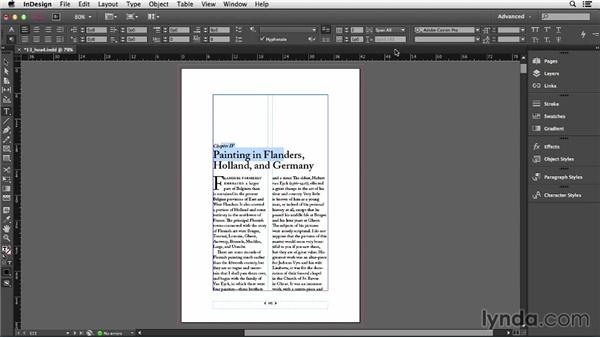 Spanning a paragraph across multiple columns: InDesign CC Essential Training (2013)
