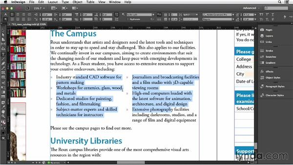 Splitting a paragraph into multiple columns: InDesign CC Essential Training (2013)