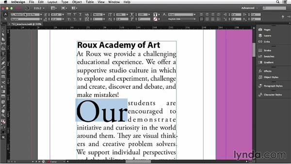 how to add a drop cap in indesign